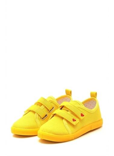 First Step Çift Cırtlı Kalpli Çocuk Keten Ayakkabı--F-499 Sarı